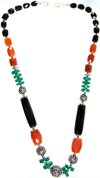 Faceted Gemstone Beaded Necklace (Black Onyx, Carnelian and Green Onyx)