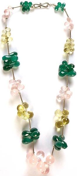 Faceted Gemstone Beaded Necklace (Green Onyx, Rose Quartz and Lemon Topaz)
