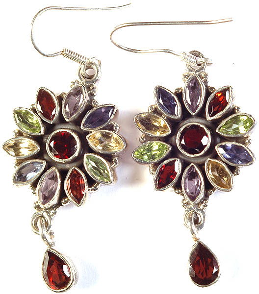 Faceted Gemstone Blooming Flower Earrings with Charms (Garnet, Citrine, Iolite, Amethyst and Peridot)