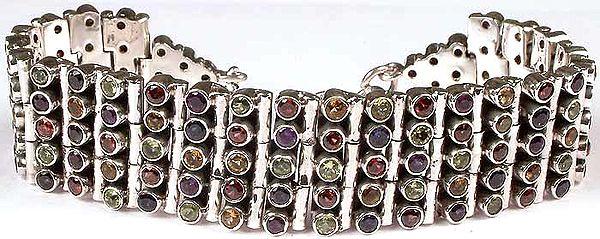 Faceted Gemstone Bracelet (Peridot, Garnet, Citrine, Amethyst and Iolite)