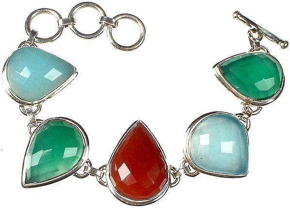 Faceted Gemstone Bracelet (Peru Chalcedony, Green Onyx, Carnelian, Peru Chalcedony and Green Onyx)