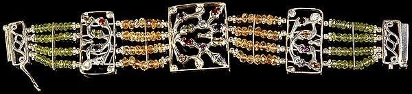 Faceted Gemstone Four Layer Bracelet (Peridot, Citrine, Blue Topaz, Garnet, Amethyst and Iolite)