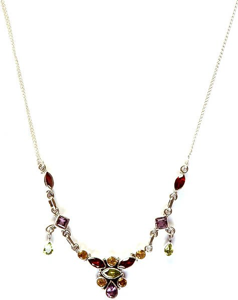 Faceted Gemstone Necklace (Garnet, Amethyst, Peridot and Citrine)