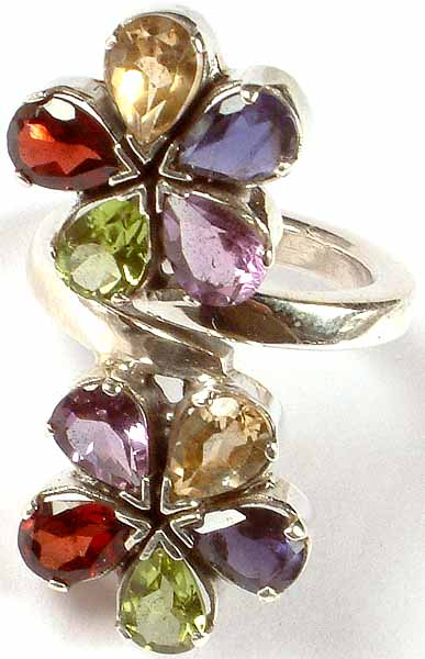 Faceted Gemstone Ring (Garnet, Citrine, Iolite, Peridot and Amethyst)