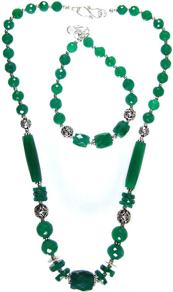 Faceted Green Onyx Necklace with Matching Bracelet Set