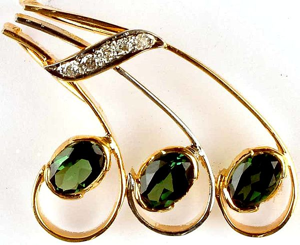 Faceted Green Tourmaline Designer Pendant with Diamonds