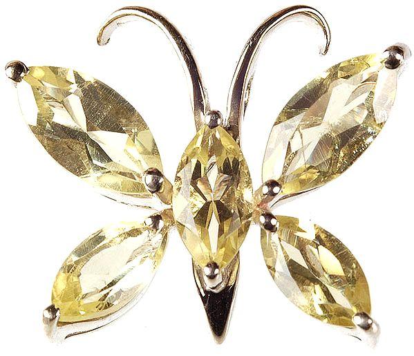 Faceted Lemon Topaz Butterfly