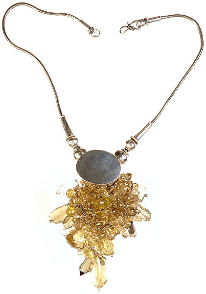 Faceted Lemon Topaz Dangling Bunch Necklace