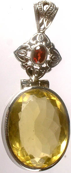 Faceted Lemon Topaz Pendant with Garnet