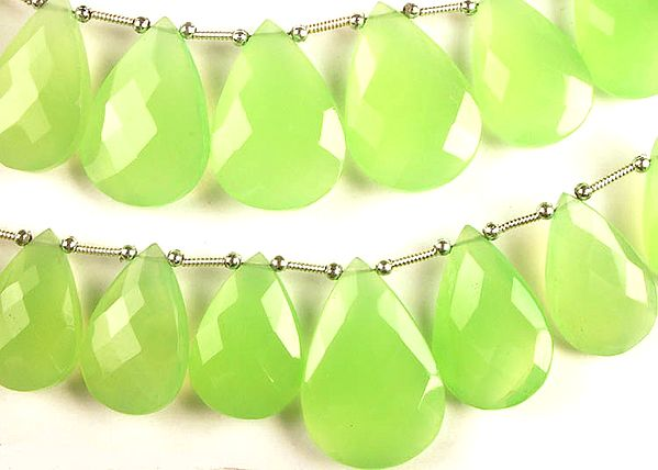 Faceted Light Green Chalcedony Briolette