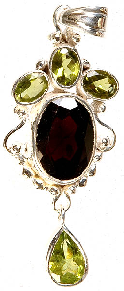 Faceted Peridot and Garnet Pendant