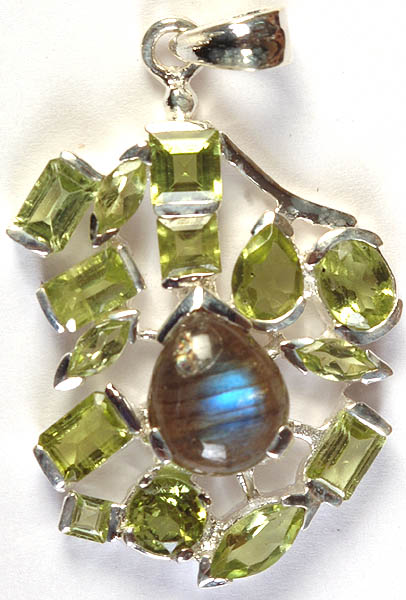 Faceted Peridot and Labradorite Pendant