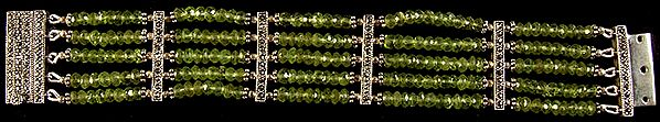Faceted Peridot Five Layer Beaded Bracelet