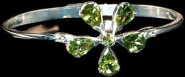 Faceted Peridot Flower Bracelet