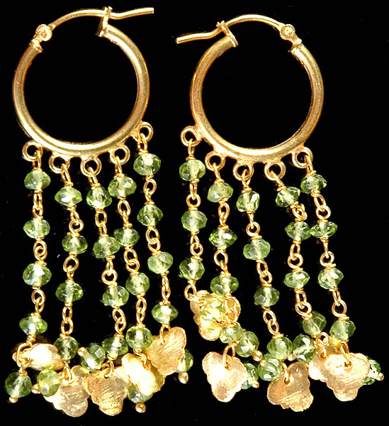 Faceted Peridot Gold Plated Chandeliers