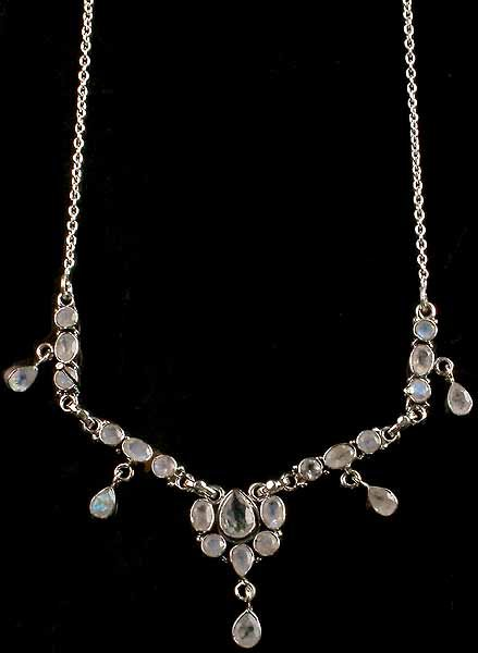 Faceted Rainbow Moonstone Necklace