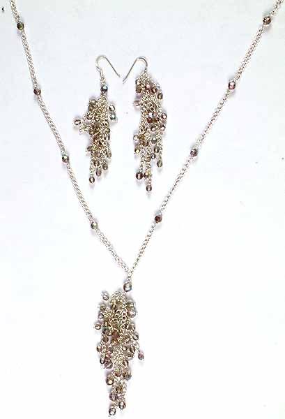 Faceted Swarovski Necklace & Earrings Set
