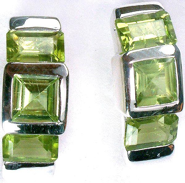 Faceted Triple Peridot Earrings