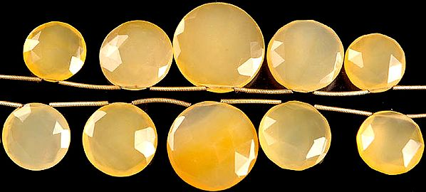 Faceted Yellow Chalcedony Top-drilled Large Coins