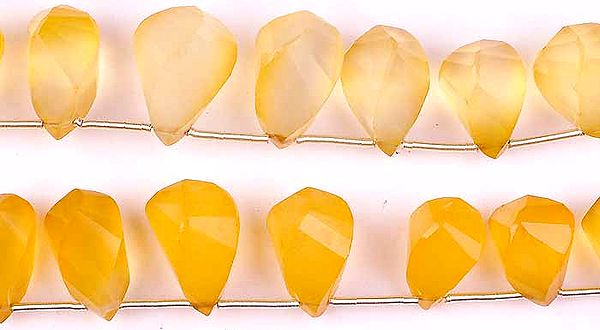 Faceted Yellow Chalcedony Twisted Briolette