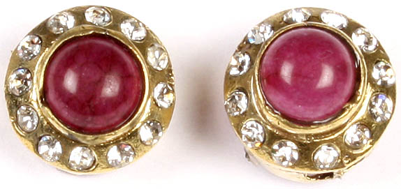 Faux Ruby Victorian Post-type Ear Studs Earrings with Cut Glass