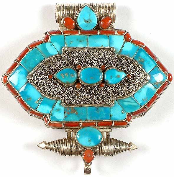 Filigree Gau Box Pendant from Nepal with Turquoise & Coral