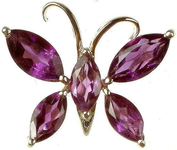 Fine Cut Amethyst Butterfly Pendant