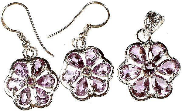 Fine Cut Amethyst Flower Pendant with Earrings Set