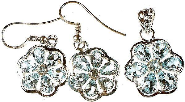 Fine Cut Blue Topaz Flower Pendant with Earrings Set