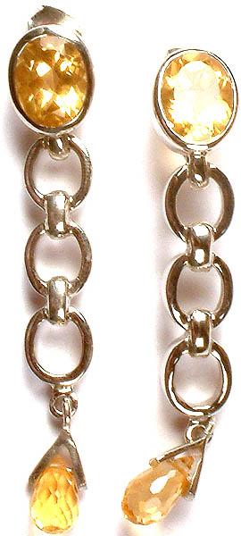 Fine Cut Citrine Dangling Earrings