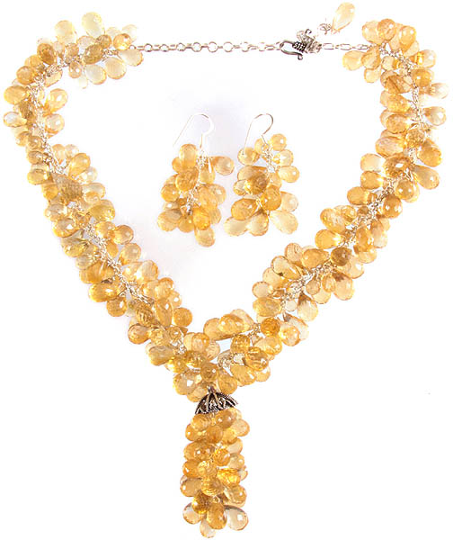 Fine Cut Citrine Drops Necklace with Matching Earrings