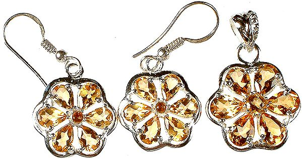 Fine Cut Citrine Pendant with Earrings Set