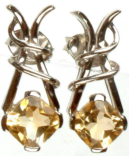 Fine Cut Citrine Spiral Post Earrings
