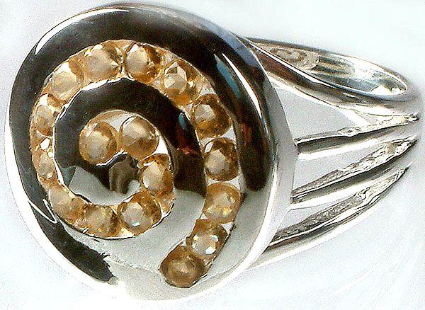 Fine Cut Citrine Spiral Ring