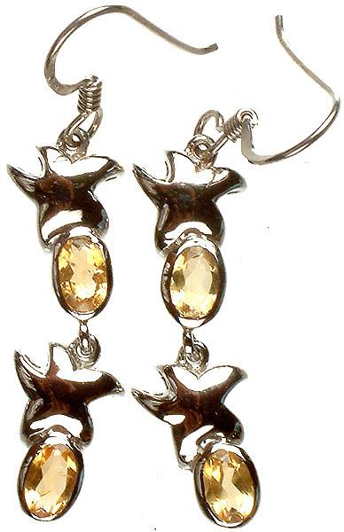 Fine Cut Citrine Starfish Earrings
