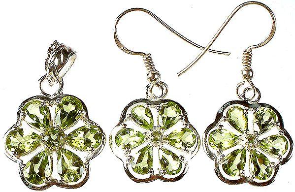 Fine Cut Peridot Flower Pendant with Earrings Set