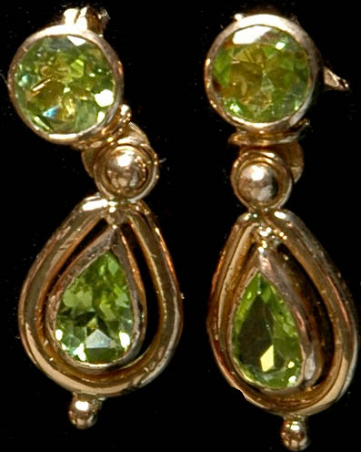 Fine Cut Peridot Post Earrings