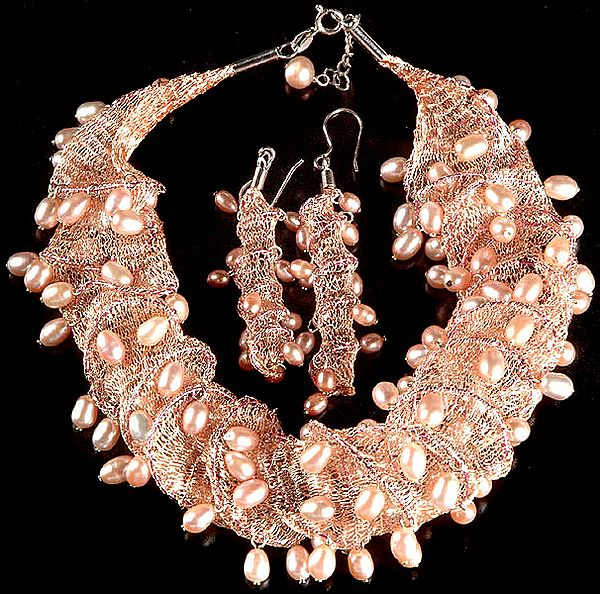 Fine Pink Pearl Woven Necklace and Earrings Set