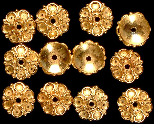 Floral Fine Caps with Granulation (Price Per Four Pieces)