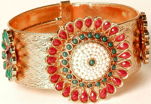 Floral Polki Cuff Bracelet with Copper Finish