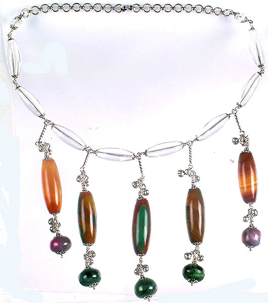 Fluorite and Ruby Zoisite Dangling Necklace with Crystal