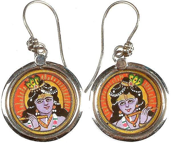 Fluting Krishna Earrings
