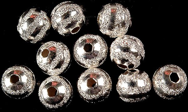 Frosted Balls of Sterling Silver with Strap Motif (Price Per Pair)