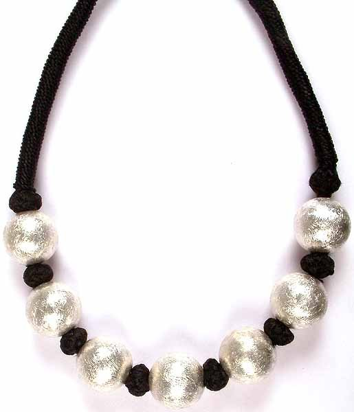 Frosted Sterling Balls Necklace with Black Cord