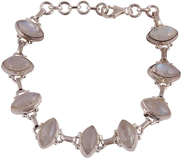 Sterling Marquise Bracelet with Rainbow Moonstones