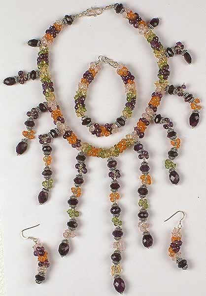 Gemstone Beaded Necklace with Matching Earrings And Bracelet Set<br>(Amethyst, Peridot, Carnelian, Citrine, And Rose Quartz)
