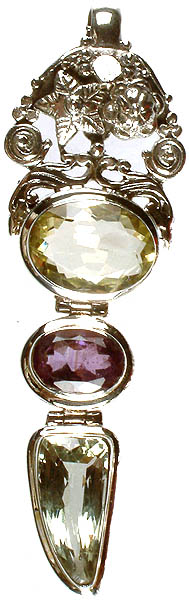Gemstone Designer Pendant (Faceted Lemon Topaz, Amethyst and Green Amethyst)