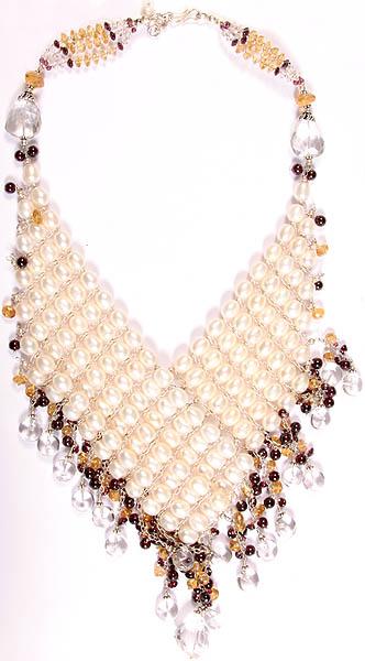 Gemstone Necklace (Pearl, Garnet, Crystal and Citrine)
