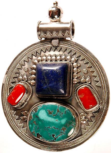 Gemstone Pendant (Lapis Lazuli, Coral and Turquoise)
