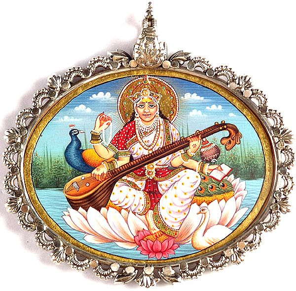 Goddess Saraswati Seated on a Lotus in Cosmic Waters with Peacock and Swan